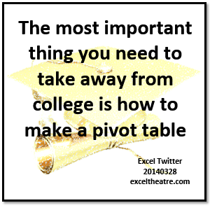 The most important thing you need to take away from college is how to make a pivot table exceltheatre.com/blog/