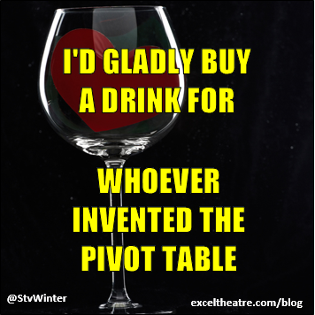 I'd gladly buy a drink for whoever invented the pivot table http://exceltheatre.com/blog/