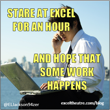 Stare at excel for an hour and hope that some work happens http://exceltheatre.com/blog/