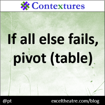 If all else fails, pivot (table) http://exceltheatre.com/blog/