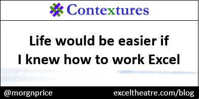 Life would be easier if I knew how to work excel http://exceltheatre.com/blog/