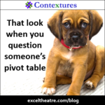 That look when you question someone's pivot table http://exceltheatre.com/blog/
