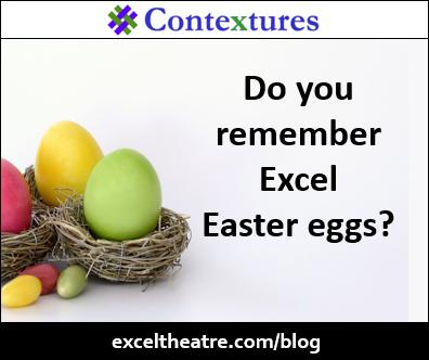 Do you remember Excel Easter eggs? http://exceltheatre.com/blog/
