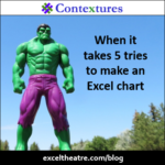 When it takes 5 tries to make an Excel chart http://exceltheatre.com/blog/